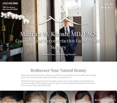 screenshot of the Maurice Khosh, MD, FACS website
