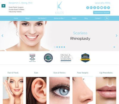screenshot of the Kalos Facial Plastic and Reconstructive Surgery  website