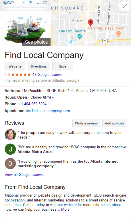 screenshot showing Find Local Company Google My Business profile