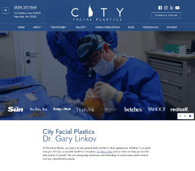 screenshot of the City Facial Plastics: Dr. Gary Linkov website