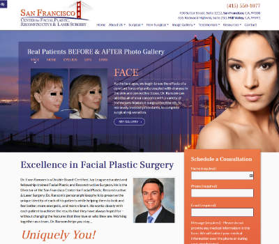 screenshot of the San Francisco Center for Facial Plastic website